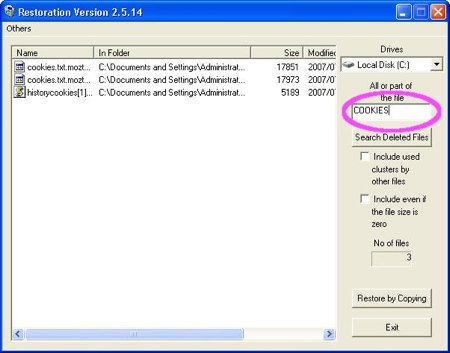 Using the Restoration search feature to recover a specific file in Windows