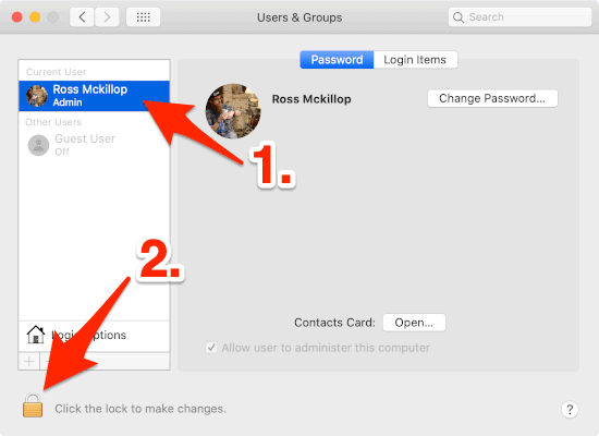 macOS Users & Groups section with an arrow pointing to a User account