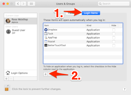 an arrow pointing to the Login Items section in the System Preferences of a Mac