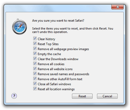How to clear the cache, cookies, history and more from Safari 5