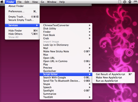 services menu in os x