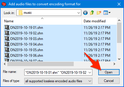 selecting SHN files to convert to MP3