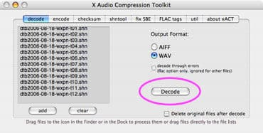 converting shn to mp3 with xact and itunes