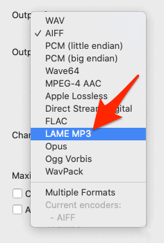 selecting MP3 as the output format in XLD