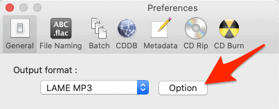 the Options button in XLD