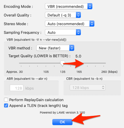 encoding options to convert shn to mp3 in macOS