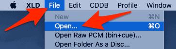 the Open menu in XLD