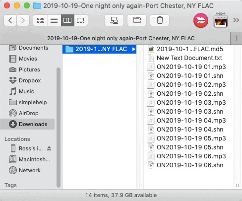 a Finder window with SHN and MP3 files