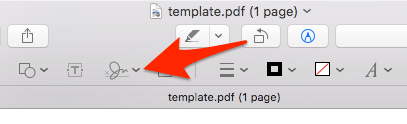 screenshot of the Markup Toolbar in Preview with an arrow pointed to the Sign button