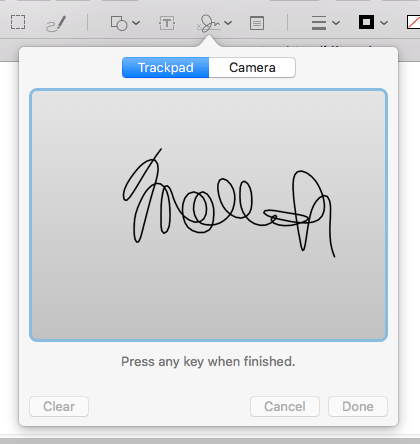 screenshot of an example signature in Preview