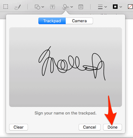 screenshot of an example signature in Preview with an arrow pointing to the Done button
