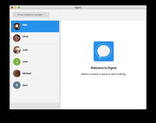 the Signal app running on a Mac