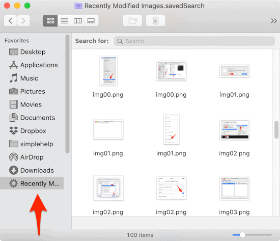 a Finder window with a Smart Folder in the Sidebar