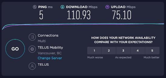 internet speed test results