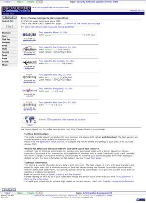broadband reports speedtests