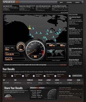 speedtest.net main window