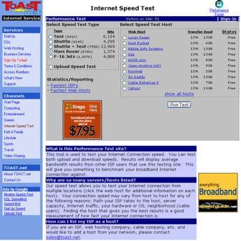 toast speedtest main page