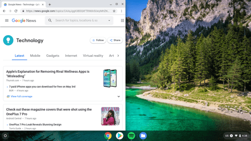 Chrome OS desktop with an app taking up exactly half the screen