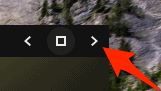 window actions on a Chrome OS app with the right arrow highlighted