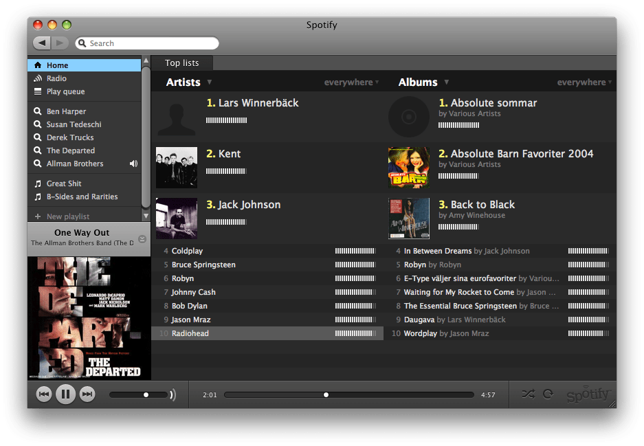 Spotify for Mac OS X full screenshot