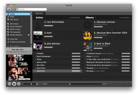 spotify os x interface
