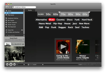 spotify radio view