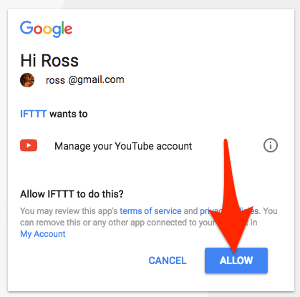 granting ifttt permission to access youtube