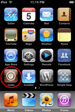 iphone/ipod touch dashboard with cydia circled