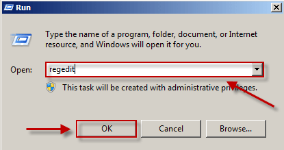 the Windows Run dialog with regedit entered
