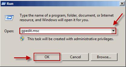 the Windows Run dialog box