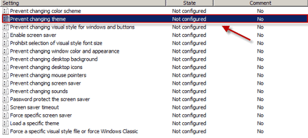 stop changing theme setting in the Group Policy Editor