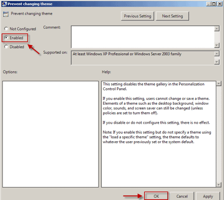an arrow pointing to the Enabled option on the Prevent changing theme panel in Windows 7