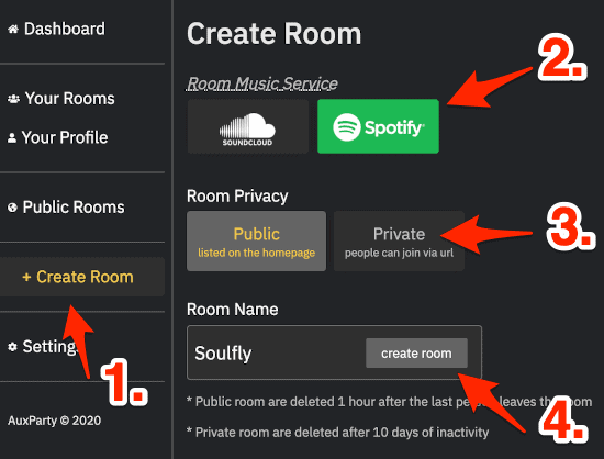 create an auxparty room to stream music