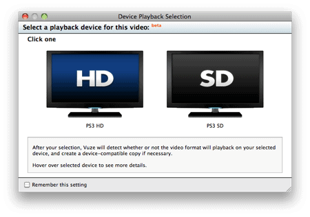 selecting HD or SD to stream videos on your Playstation from a Mac