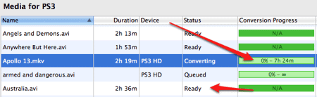 converting a video to stream from a Mac to a Playstation 3