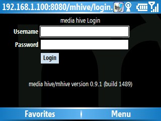 media hive on a windows mobile smartphone