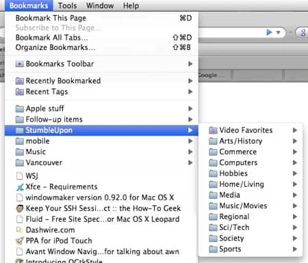 firefox bookmarks with stumbleupon favorites