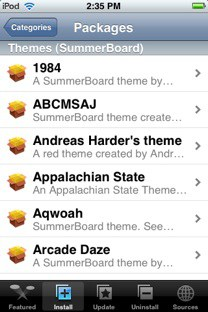 SummerBoard Themes list in Installer.app