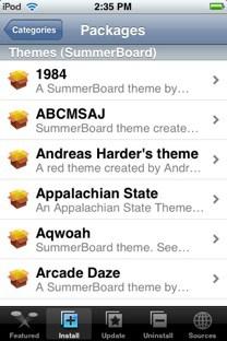 SummerBoard Themes list in Installer.app