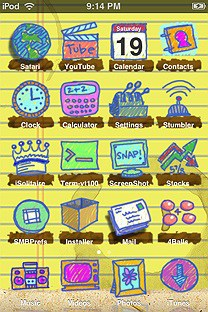 doodles SummerBoard Theme for the iPhone or iPod Touch