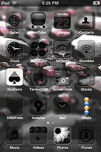 fercho rain black red SummerBoard Theme for the iPhone or iPod Touch