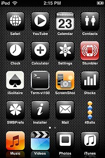 monodrome black SummerBoard Theme for the iPhone or iPod Touch
