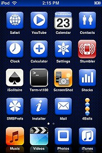 monodrome blue SummerBoard Theme for the iPhone or iPod Touch