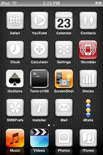 monodrome white SummerBoard Theme for the iPhone or iPod Touch