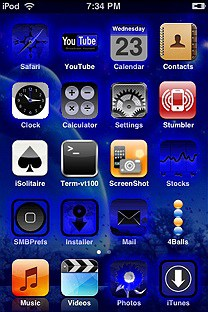 xadackas mystic blue SummerBoard Theme for the iPhone or iPod Touch