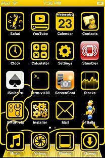 yellow SummerBoard Theme for the iPhone or iPod Touch