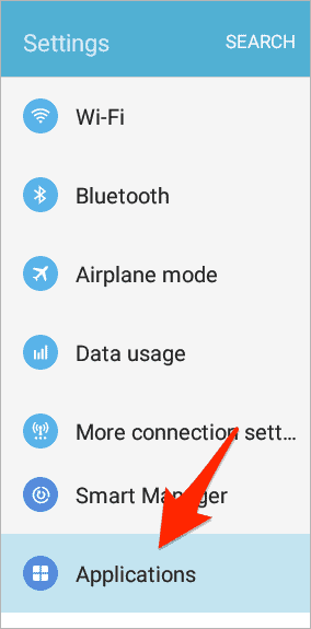 an arrow pointing at Applications in the list of Android Settings
