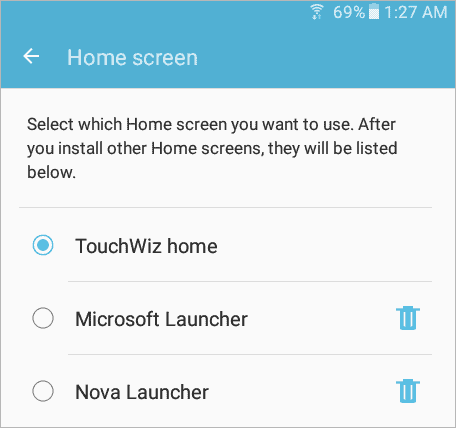 switch between Android Launchers in the Settings