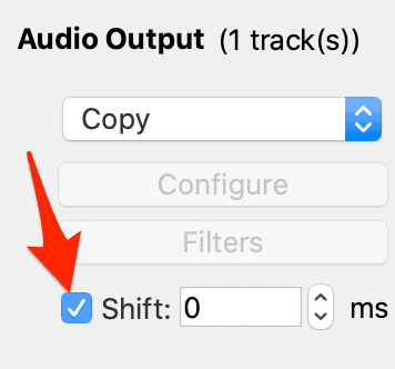 the shift box in the audio output section of avidemux