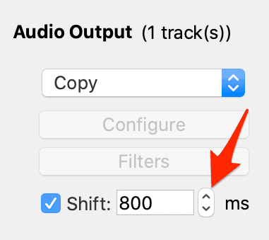 the up and down arrows located in the audio output section